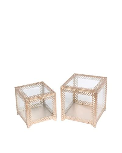 Set of 2 Square Boxes, Champagne