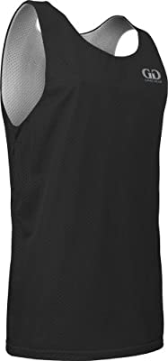 Men's Tank Top Jersey-Uniform is Reversible to White-Great for Basketball, Football, Soccer, Lacrosse, and Practices-Colors available in Black, Green, Royal, Red, Navy and More-Sizes SM-XXXL (X-Large, Black/White)