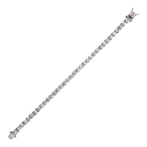 C.Z. Rhodium 4Mm With Bar Tennis (.925) Sterling Silver Bracelet (Nice Holiday Gift, Special Black Firday Sale)
