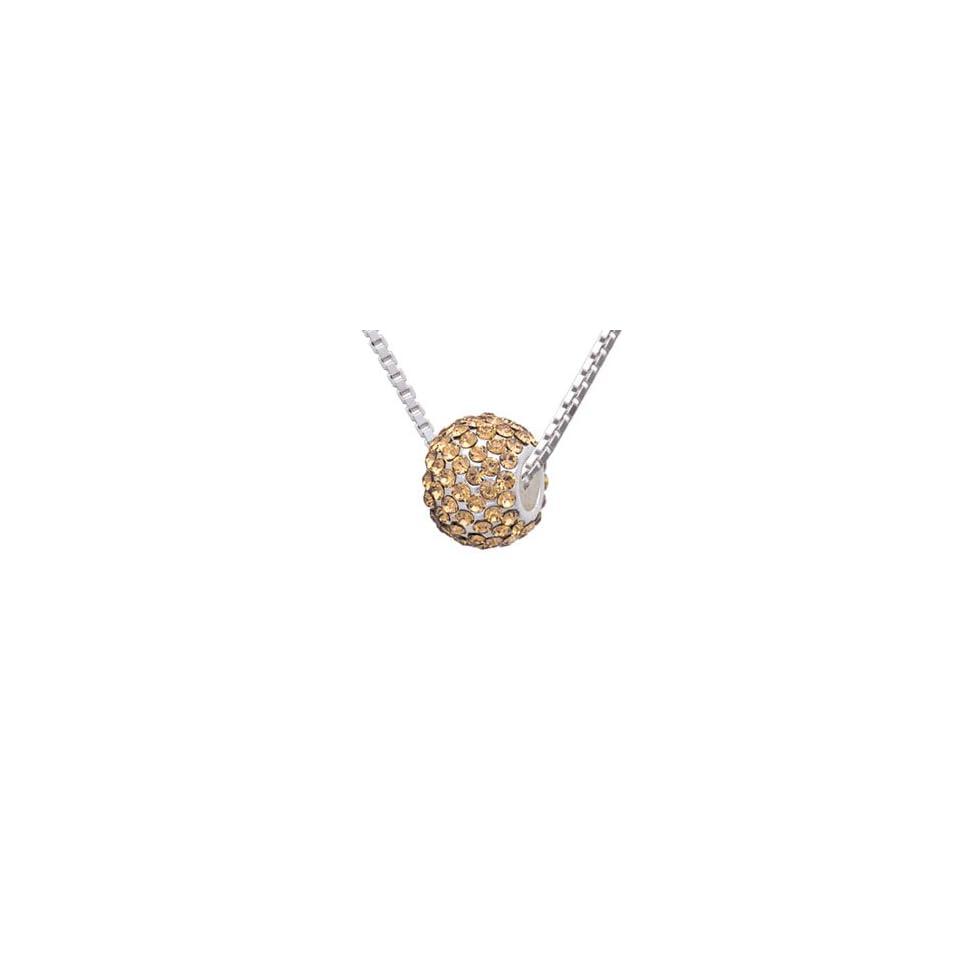 Yellow Topaz Super Sparkle Crystal Bead Charm Necklace [Jewelry] [Jewelry]
