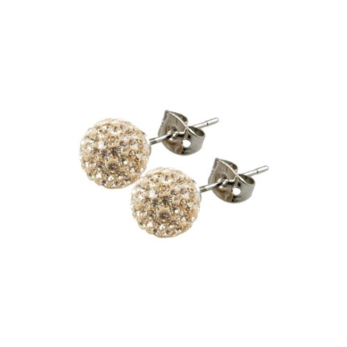 Tresor Paris Cramenil Gold Crystal Earrings 10mm