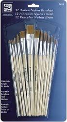 Bulk Buy: Loew-Cornell Short Handle Nylon Brush Set 12/Pkg-Brown (2-Pack)