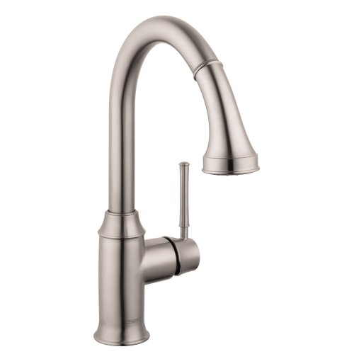 Hansgrohe 04215800 Talis C Higharc Single Hole Kitchen Faucet with Pull Down 2-Spray, Steel Optik