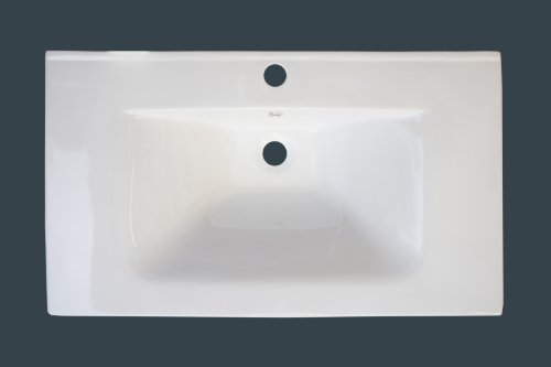 American Imaginations 383 24-Inch by 18-Inch White Ceramic Top with Single Hole