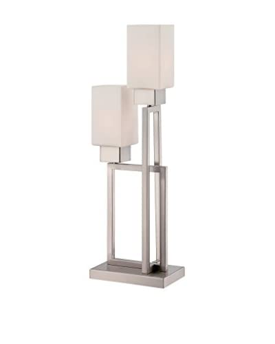 Lite Source Risa Table Lamp, Polished Steel/Frost