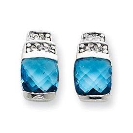 Sterling Silver Blue & Clear CZ Post Earrings