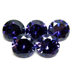 Round 9mm Amethyst CZ Cubic Zirconia Loose Stone Lot of  50 Pieces