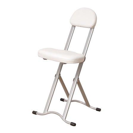 ワイエムワールド 折りたたみ式 カウンターチェアー 作業椅子 キッチンチェアー 高さ調節機能付き 【色: ホワイト 】