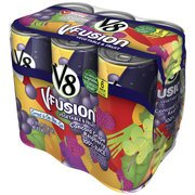 V8 V-Fusion Concord Grape & Raspberry, 100% Vegetable & Fruit Juice, 8 Fl Oz, 6 Pack(Case Of 2)