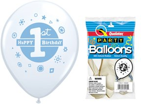 "Pioneer Balloon Company 1st Birthday Boy Latex Balloons (5 Pack), 11"", White"