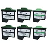 Lexmark 17 & Lexmark 27, 4 black & 2 colour, 6 pack, compatible ink cartridges, These 2 cartridges are for the following printers i3 X 1100 1110 1130 1140 1150 1155 1160 1170 1180 1185 1190 1240 1250 1270 1290 2230 2240 2250 72 74 Z 23e 25L 33 34 35 512