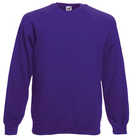 Fruit of the Loom Mens Raglan Sweatshirt Jumper Purple Medium