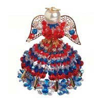 Angel Ornament Bead Kit Red White and Blue