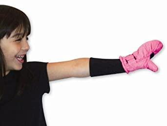 SnowStoppers STAY-ON Medium Fuchsia Nylon Mittens, Ages 3-5