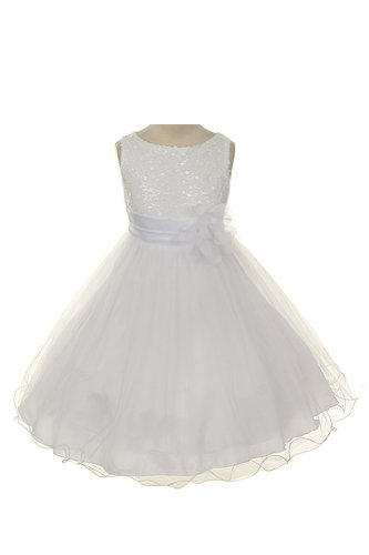 Sequin Bodice Tulle Special Occasion Holiday Flower Girl Dress – White 5-6