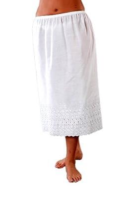 2er-Pack Frauen/Damen Unterröcke, Polyester/Baumwolle Weiß, mit Stickerei, Weiß, verschiedene Größen
