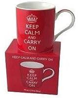 Keep Calm and Carry On (Red) Fine China Mug - Boxed mug