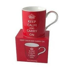 Keep Calm and Carry On (Red) Fine China Mug - Boxed mug