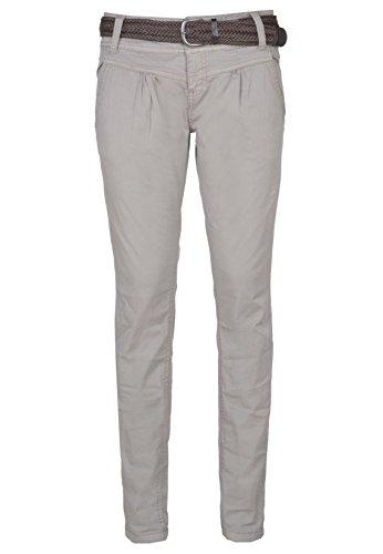 Urban Surface Pantaloni chino da donna | Eleganti pantaloni in tessuto con cintura intrecciata in comodo cotone grigio S