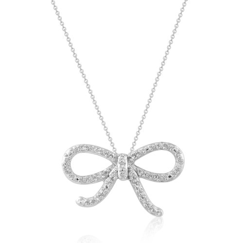 Women's Sterling Silver Pendant Necklace (0.05 cttw, I-J Color, I2 Clarity), 18