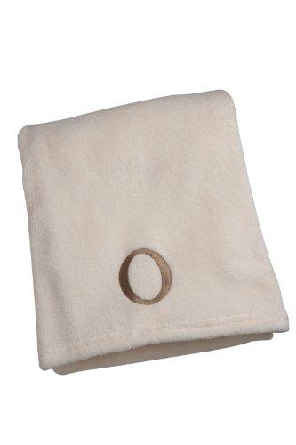 NoJo Ivory Embroidered Blanket, Letter O