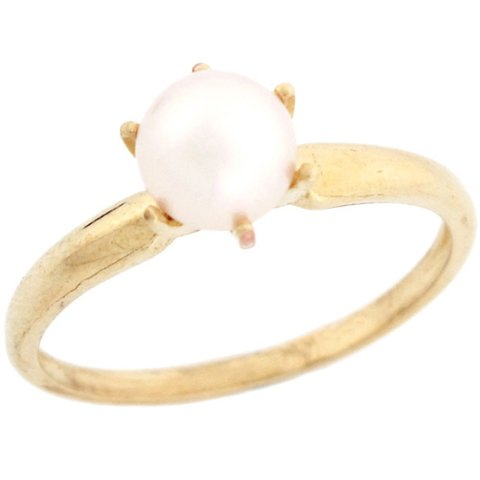 14k Solid Yellow Gold Freshwater Pearl Solitaire Promise Ring Jewelry