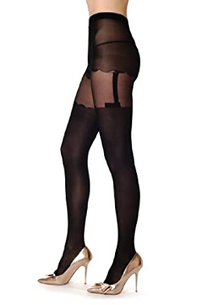 Rounded Shorts & Straight Suspender Belt - Black Pantyhose (Tights)