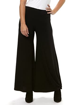 Roman Women's Smart Plain Wide Leg Trousers Black Size 16