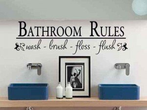 """Bathroom Rules #2 ~ Wall Decal, Home Decor 8"""" X 27"""" from Best Priced Decals"""
