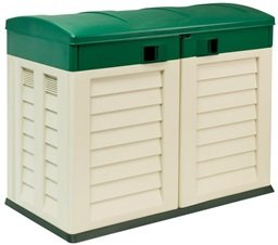 Beige Plastic Garden Shed / Wheelie Bin store for Home or Caravan