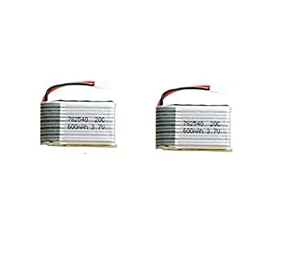 MicroMall 2pcs Upgraded Syma X5C X5 3.7V 600mAh 25C Lipo Battery