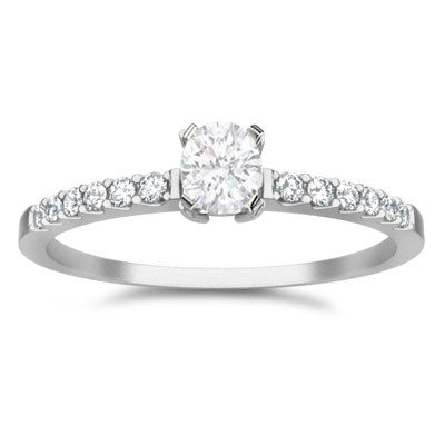 0.58 Carat Cheap Wedding Ring with Round cut Diamond on 18K White gold