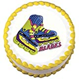 Cakesupplyshop Item#r61t - Roller Skate Roller Blades Birthday Party Lay-on Cake Decoration Topper