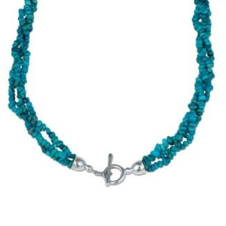 Southwest Spirit Sterling Silver Dark Blue Kingman Turquoise Triple Strand Torsade - 18
