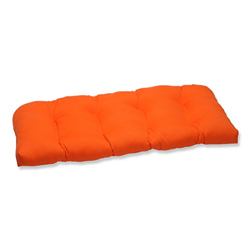 Pillow Perfect Indoor Outdoor Sundeck Wicker Loveseat Cushion Orange Furniture Furniture
