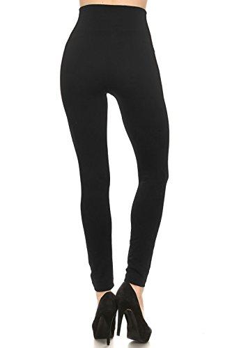 Leggings Mania Fleece Lined Thick High Waisted Slimming Band Leggings Black