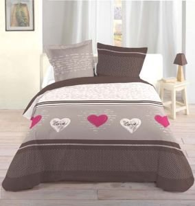 100pourcentcoton housse de couette 240x260 cm lover 100 coton superieur 57 fils cm2 2 to. Black Bedroom Furniture Sets. Home Design Ideas