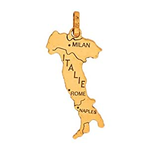 com: So Chic Jewels - 18k Yellow Gold - Map of Italy Pendant: Jewelry
