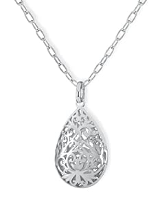 Tuscany Sterling Silver Rhodium Plated Teardrop Pendant on Chain of 51cm and 10cm exntension