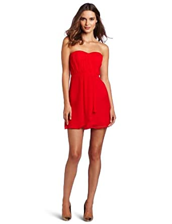 Twelfth St. by Cynthia Vincent Women's Strapless Gathered Party Dress, Red, 6