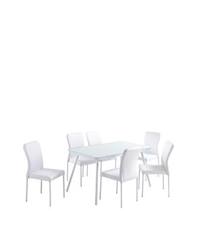 Contemporary Black & White Tischgruppe 7 tlg. Set Juliet