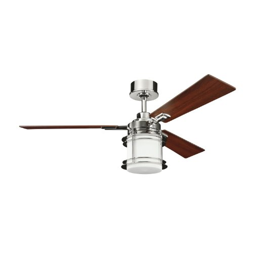 Kichler Lighting 300157PN Pacific Edge 52-Inch Ceiling Fan, Polished Nickel Finish with Reversible Maple/Cherry Blades and Integrated Etched Opal Light Kit