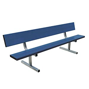 15' Color Heavy Duty Permanent Aluminum Bench with Back from Titan