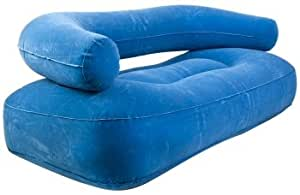 Flocked Inflatable Two Person Sofa Blue