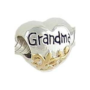 Petite Grandma Heart 14K and 925 Sterling Silver Bead fits European Charm Bracelet