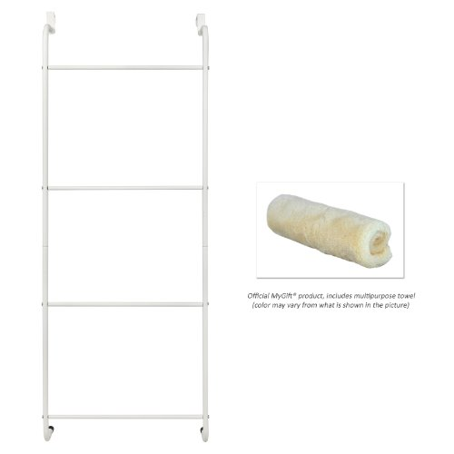 Space saving white metal over the door towel rack clothing hanger hardware building materials - Towel racks for small spaces concept ...