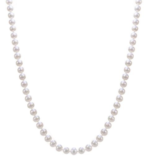 Classical 925 Sterling Silver 5.5mm White Pearl Women Necklace - 18.9 inch