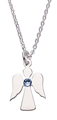 Charm Angel Birthstone Sterling Silver Pendant on 46cm Chain