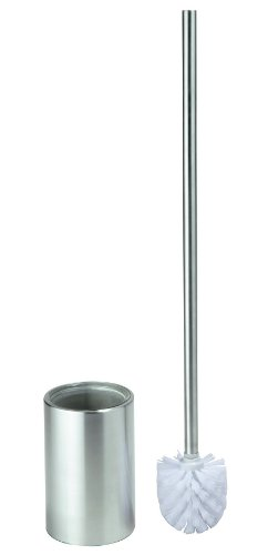 Glass and Stainless Steel Bathroom Toilet Brush Set with long Handle and Surrogate Brush Head