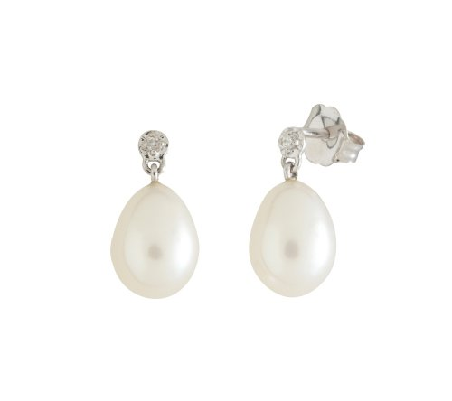 10k White Gold Oval Freshwater Cultured Pearl Diamond Accent Earrings